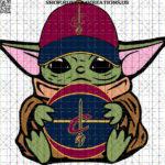 Baby Yoda with Cleveland CavaliersBasketball