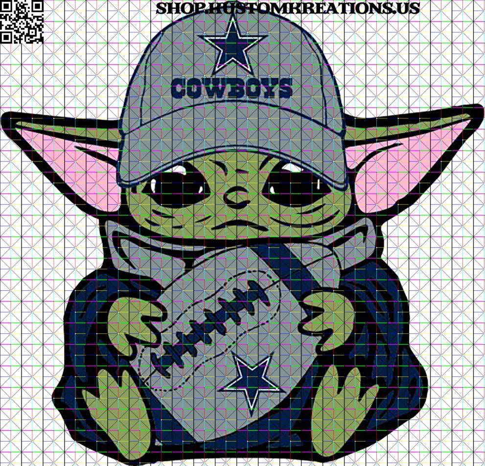 This is a SVG image of Baby yoda with Dallas hat and football. This image can be used with Cricut or similar cutting machines. #cowboys #nfl #dallascowboys #dallas #football #cowgirls #cowboysnation #cowboy #dc #americasteam #rodeo #texas #countrylife #dakprescott #amaricooper #country #life #rdr #l #western #wedemboyz #reddeadredemption #zeke #gocowboys #superbowl #horses #cowgirl #cowboysfans #ezekielelliott #bhfyp #sublimation #png #kustomkreationsus #htv #cameo #circut #BabyYoda #SVG #Starwars #Sublimation #TheChild #KustomKreationsus #png #disney