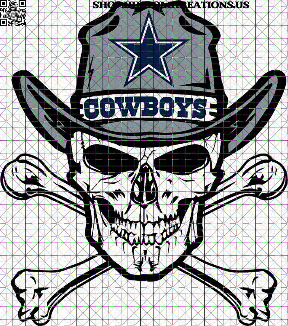 Skull in Cowboy's hat SVG