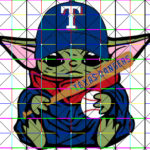 This is an image of Baby Yoda with Texas Rangers baseball